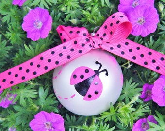 Pink Ladybug Ornament - Baby's 1st Christmas Ornament - Personalized - Hand Painted Glass Bauble, Ladybug Baby Shower, Birthday, Memorial