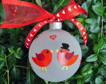 Lovebird Ornament for Wedding or Engagement or Anniversary - Personalized- Hand painted Christmas Wedding Ornament, Just Married, Red Birds