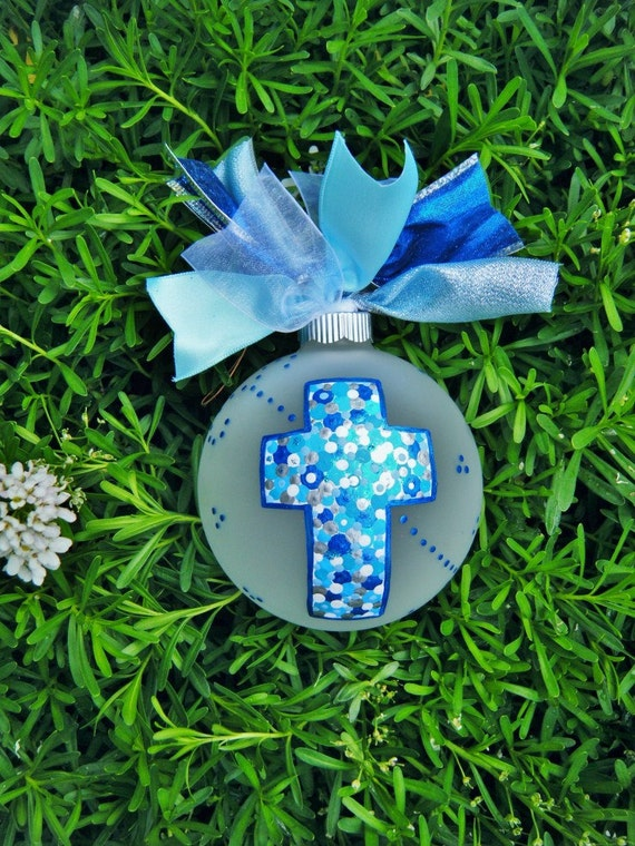 First Holy Communion, Baptism, Birthday or Memorial Blue Cross - Personalized Bauble, Hand Painted, First Communion Cross, In Remembrance