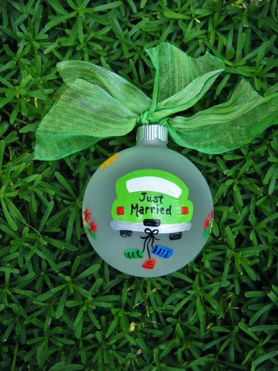 Items similar to just married car ornament personalized