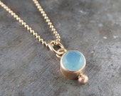 Recycled 14k Gold and 4mm Blue Peruvian Charm Pendant - Limited Edition