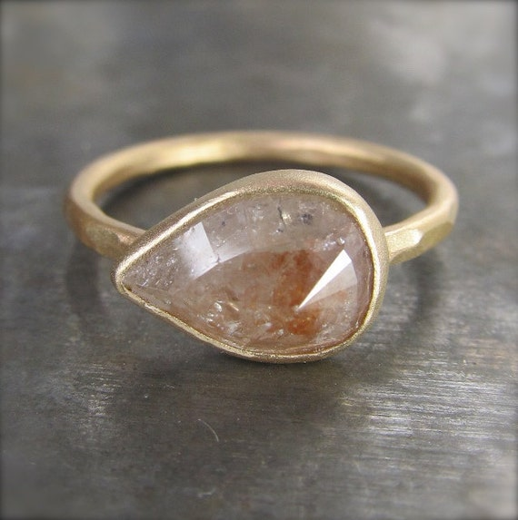 OOAK Large Rose Cut Silver and Peachy Red Diamond Ring in 14k Recycled Gold - 2.17 carats