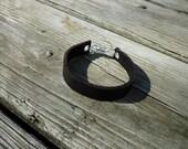 Personalized Leather Bracelet, Personalized Black Leather Bracelet