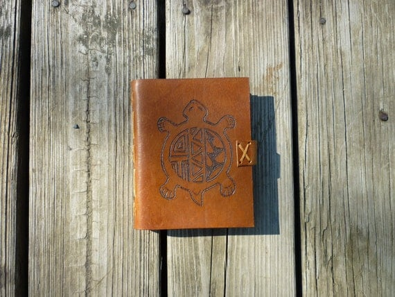 Tortoise Leather Journal, diary or sketchbook The Wise Tortoise