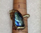 Genuine Wire Wrapped Labradorite Adjustable Ring 14K Rolled Gold