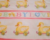 Baby Love Fabric Susan Branch for RJR Pink Rubber Ducky Border White Background