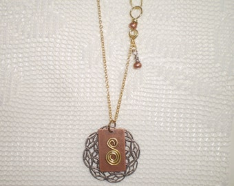 "Handmade Original One-of-a-Kind Mixed Metals Golden ""S"" Swirl Pendant"