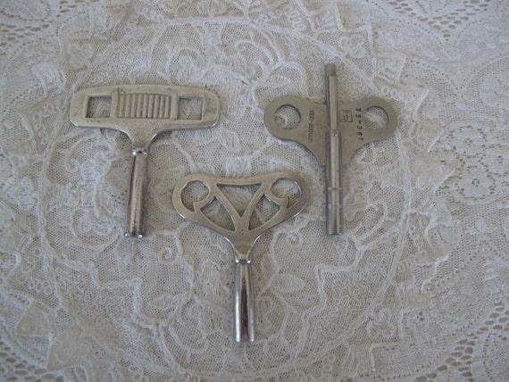 Collection  of Three Vintage Industrial Steel Clock Keys...HR West Germany