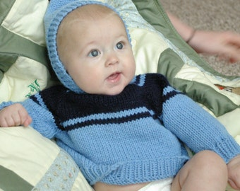 Knitted Hooded Baby Sweater with Back Zipper