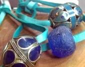 50% OFF SALE Antique Afghan Blue Lapis Bead turquoise deerskin leather bracelet