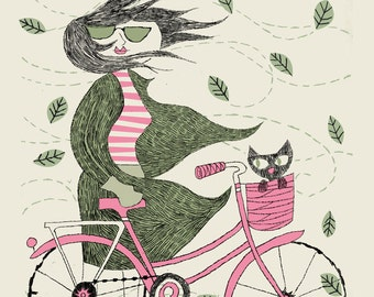 Fall Hipster Girl Bike