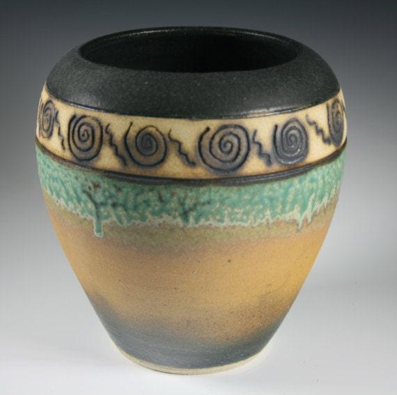 Multi Layer Glaze Ceramic Vase with Carving