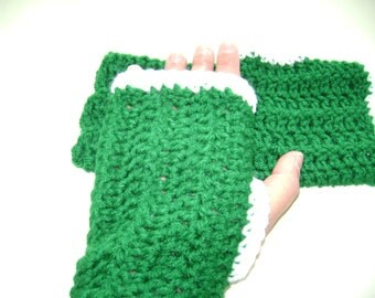 Fingerless Mittens - Green with White