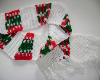White and Christmas paneled scarf