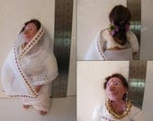 OOAK 12th scale dollshouse doll,  lady in a white sari