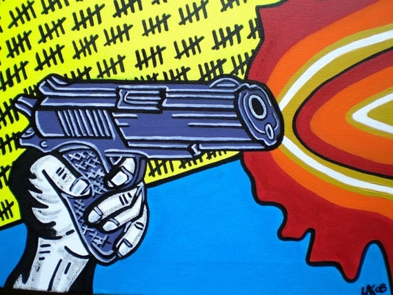 Pop art painting,gun,acrylic on canvas,Warhol,flames,hand painted,wall art,shoot,urban,home,living,urban,yellow,orange,red,blue,illustration