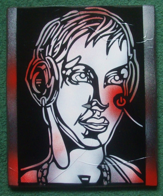 Head phones 1 stencil painting on wood by abstractgraffitishop - Painting with stencils on wood ...