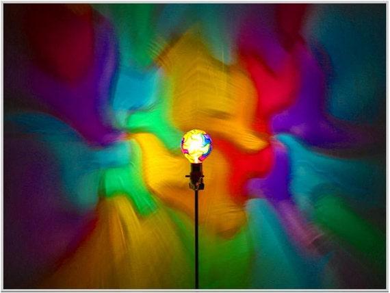 Hand-Painted Rainbow Mosaic Mood-Light Bulb 4 Burning Man )*( Night Lights, Birthday Parties, Kids Lamps, Color Therapy, Yoga, Massage, Dorm