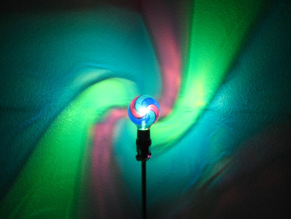 Green Blue Purple Spiral Painted MoodLight Bulb 4 Christmas
