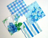 "Blue Moon Vintage Bed Sheet MINI CHARM PACK - 8 5x5"" squares"