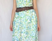Pretty Flower Dress - Upcycled from Vintage Bed Sheets - Women's Knee-Length Dress