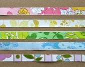 Rainbow Vintage Fabric Deco Tape Sampler - Upcycled from Vintage Linens - Scrapbooking, Pretty Packaging, Journaling, Cardmaking