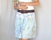 Women's Upcycled Skirt - Bluesy - Handcrafted with Love from Vintage Bed Sheets
