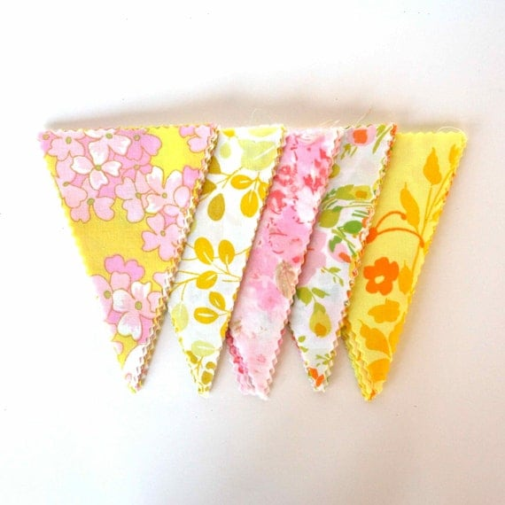 DIY Bunting Kit - 6 Feet of Instant Happiness - Blossom Sunshine - Flag Garland from Vintage Bed Sheets