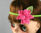 Trendy Blythe doll headband fascinator hair accessory - boho style with felt flower - bright pink and green - spring photo prop