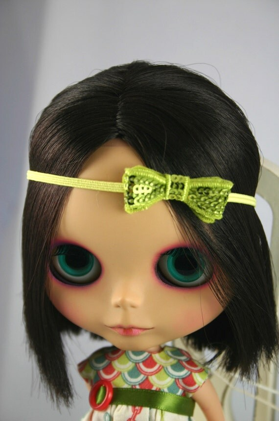 Boho style headband bow fascinator citrus green and yellow - Blythe doll accessories - bow headband - trendy accessories for Blythe