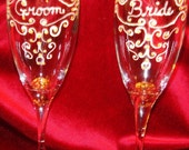 Sale Price Wedding Champagne Glass Set of Two Hand Painted Bride and Groom