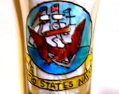 US Navy Shot Glass Hand Painted Crest Insignia
