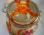 Hold for RR Canning Jar Hand Painted Glass Red Flower Orange Bow