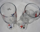 Sale! Champagne Wine Glass Toasting Flute Hand Painted Stars Red White Blue