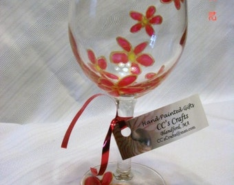 Wine Glass, Flowers, Red and Gold Hand Painted 8 ounce size