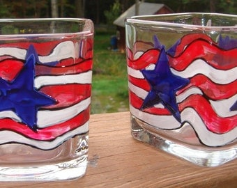 Flag Votive Hand Painted Red White Blue Stars Candles Etc