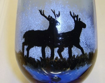 Hand Painted Wine Glass Two Deer Silhouette Blue and Black