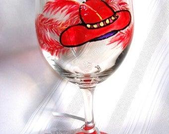 Red Hat Society Wine Glass Hand Painted Custom Women