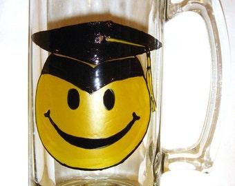Sale! Graduation Beer Mug Smiley Face Hand Painted Beer Glass Vintage Style
