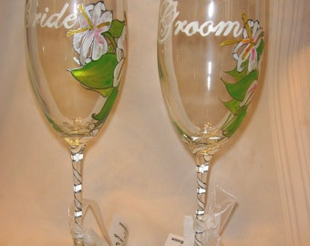 Wedding Glasses Bride & Groom Wine Champagne Flutes Set Hand Painted Lily Design