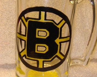Boston Bruins hockey Fan Beer Glass Made to Order
