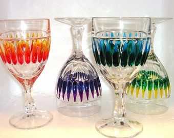 Hand Painted Heavy Crystal Goblets Multi Colored Set of Four