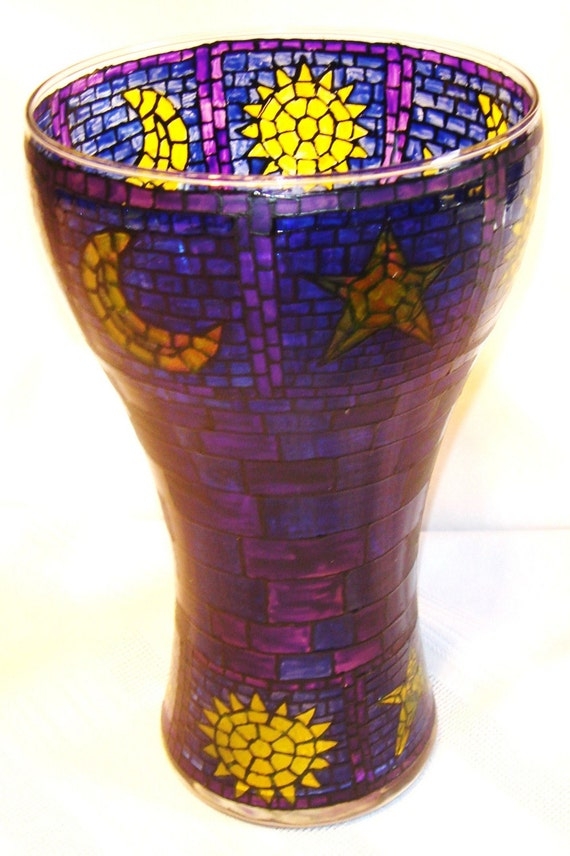 Stained Glass Look Flower Vase Hand Painted Large By Ccscrafts