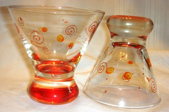 SALE Set of TWO Hand Painted Hi Ball Glass Orange and Copper Design Cordial Taster Cocktails Set of Two
