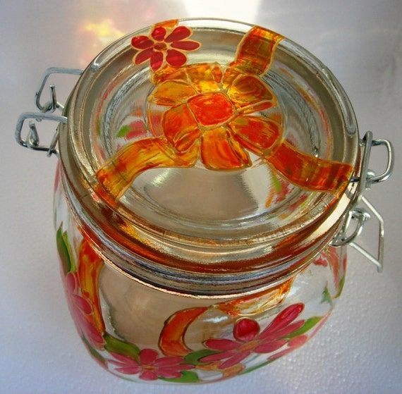 Black Friday Sale!!! Canning Jar Hand Painted Glass Red Flower Orange Bow