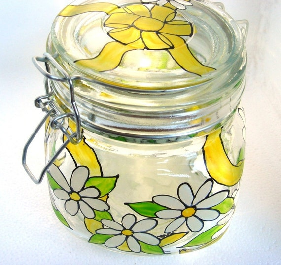 Canning Jar Hand Painted Glass White Daisy Flower Yellow Bow