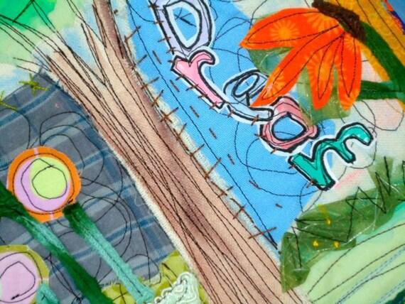 Large Coaster, placemat - Whimsical fiber art Mug Rug, Dream