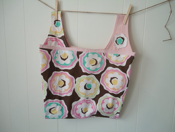 On Sale! Large Market Tote, Beach, travel or project bag, whimsey flowers