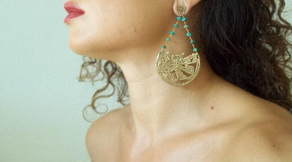 Gypsy Roman Flower Earrings in Bronze