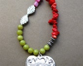 Heart Milagro Necklace with Coral, Shell, and Glass Beads